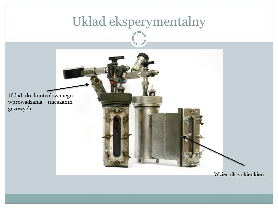 Układ eksperymentalny Układ do kontrolowanego wprowadzania mieszanin gazowych Wziernik z okienkiem