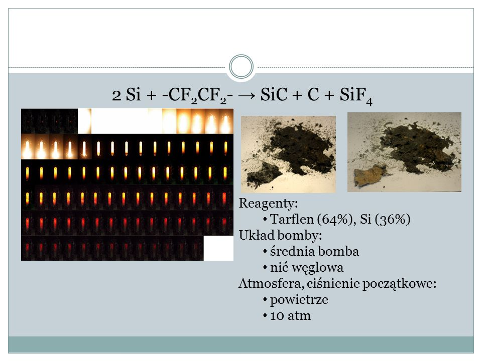 2 Si + -CF 2 CF 2 - → SiC + C + SiF 4 Reagenty: Tarflen (64%), Si (36%) Układ bomby: średnia bomba nić węglowa Atmosfera, ciśnienie początkowe: powietrze 10 atm