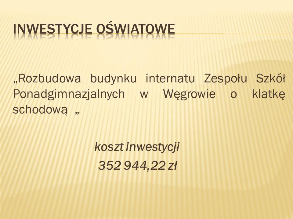 """""""Rozbudowa budynku internatu Zespołu Szkół Ponadgimnazjalnych w Węgrowie o klatkę schodową """" koszt inwestycji 352 944,22 zł"""