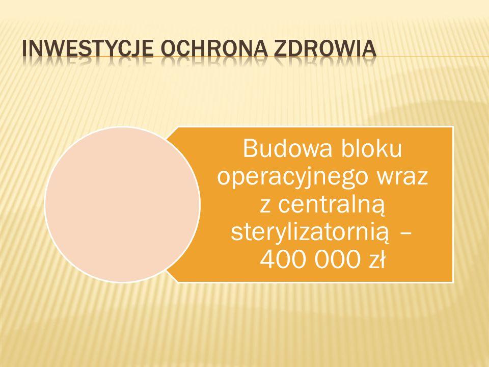 Budowa bloku operacyjnego wraz z centralną sterylizatornią – 400 000 zł