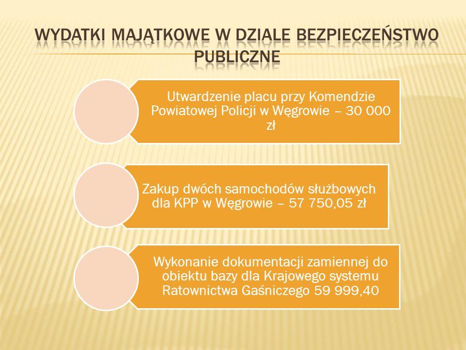 Utwardzenie placu przy Komendzie Powiatowej Policji w Węgrowie – 30 000 zł Zakup dwóch samochodów służbowych dla KPP w Węgrowie – 57 750,05 zł Wykonanie dokumentacji zamiennej do obiektu bazy dla Krajowego systemu Ratownictwa Gaśniczego 59 999,40
