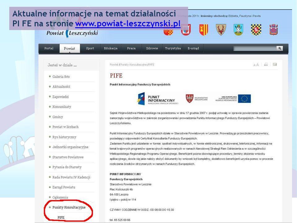 Aktualne informacje na temat działalności PI FE na stronie www.powiat-leszczynski.plwww.powiat-leszczynski.pl