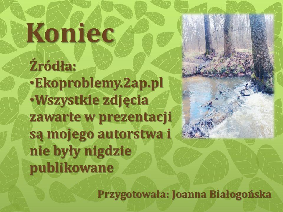 Koniec Przygotowała: Joanna Białogońska Źródła: Ekoproblemy.2ap.pl Wszystkie zdjęcia zawarte w prezentacji są mojego autorstwa i nie były nigdzie publ