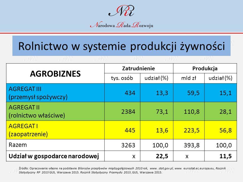 AGROBIZNES ZatrudnienieProdukcja tys. osóbudział (%)mld złudział (%) AGREGAT III (przemysł spożywczy) 43413,359,515,1 AGREGAT II (rolnictwo właściwe)