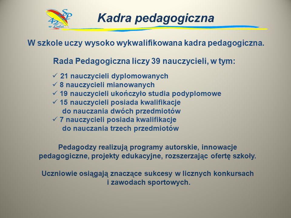 Kadra pedagogiczna W szkole uczy wysoko wykwalifikowana kadra pedagogiczna.