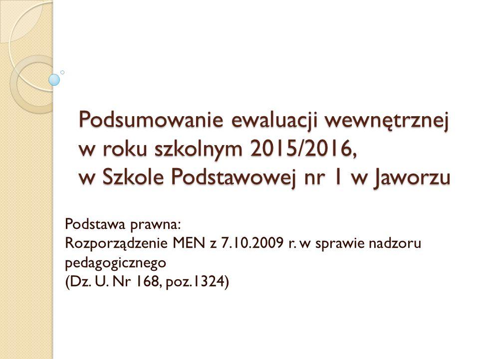 Podsumowanie ewaluacji wewnętrznej w roku szkolnym 2015/2016, w Szkole Podstawowej nr 1 w Jaworzu Podstawa prawna: Rozporządzenie MEN z 7.10.2009 r.
