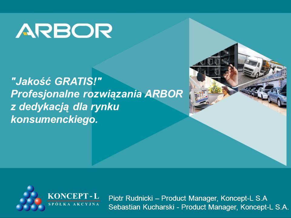 Jakość GRATIS! Profesjonalne rozwiązania ARBOR z dedykacją dla rynku konsumenckiego.
