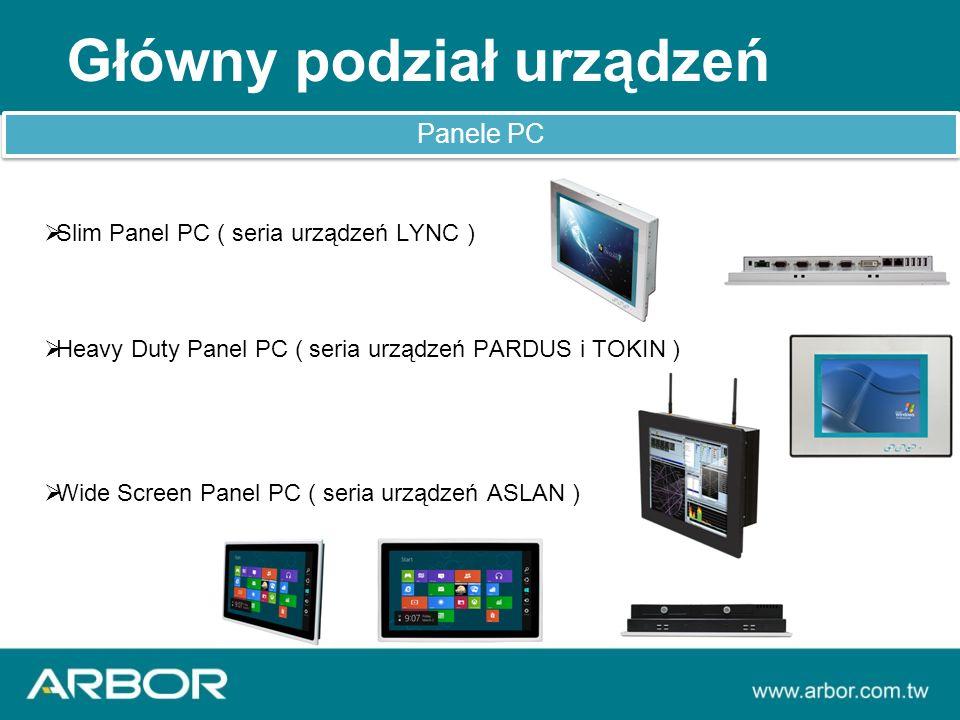 Główny podział urządzeń Panele PC  Slim Panel PC ( seria urządzeń LYNC )  Heavy Duty Panel PC ( seria urządzeń PARDUS i TOKIN )  Wide Screen Panel PC ( seria urządzeń ASLAN )