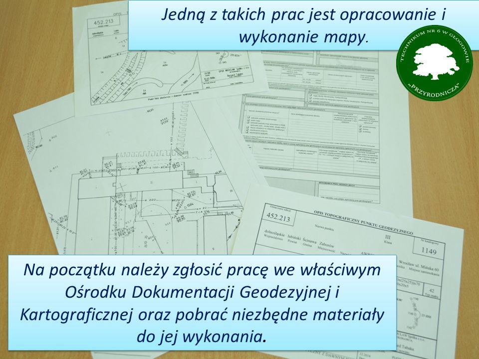 Na początku należy zgłosić pracę we właściwym Ośrodku Dokumentacji Geodezyjnej i Kartograficznej oraz pobrać niezbędne materiały do jej wykonania.