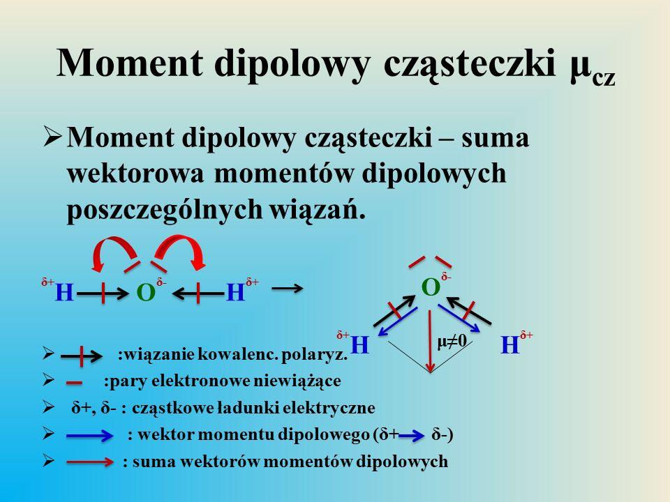 Moment dipolowy cząsteczki μ cz  Moment dipolowy cząsteczki – suma wektorowa momentów dipolowych poszczególnych wiązań.  :wiązanie kowalenc. polaryz