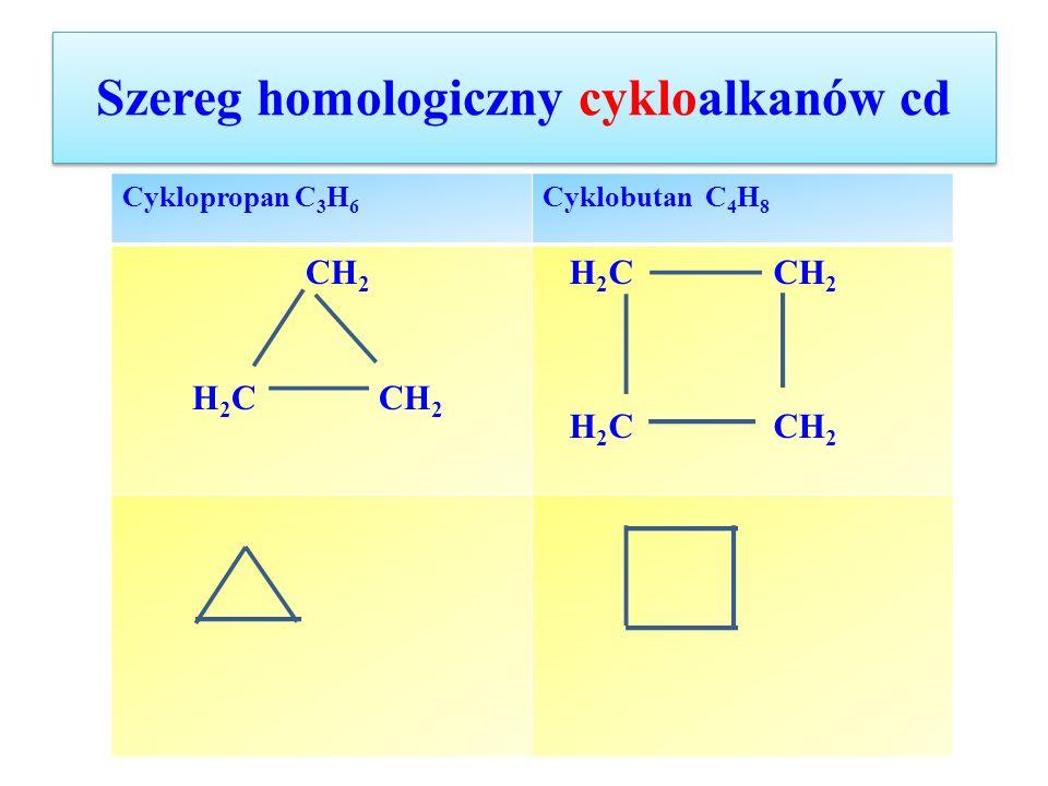 Szereg homologiczny cykloalkanów cd Cyklopropan C 3 H 6 Cyklobutan C 4 H 8 CH 2 H 2 C CH 2 H 2 C CH 2