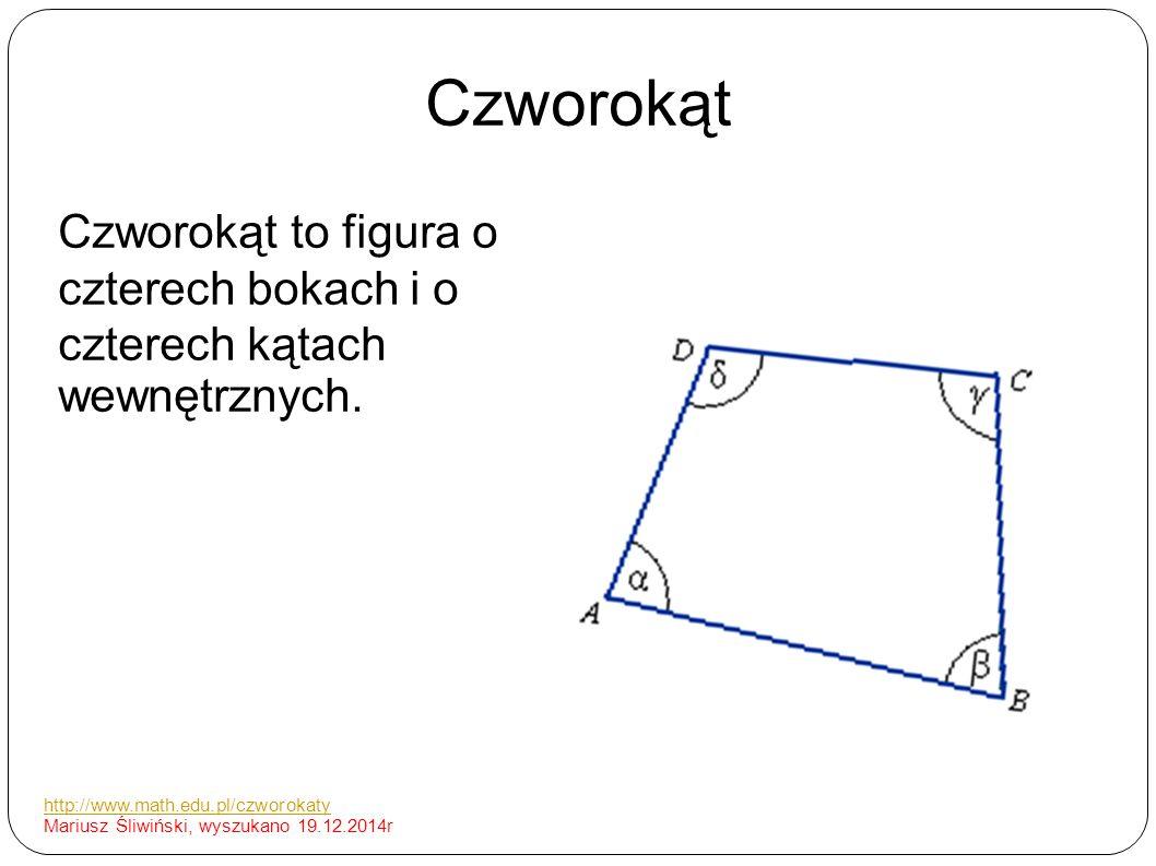 Czworokąt Czworokąt to figura o czterech bokach i o czterech kątach wewnętrznych. http://www.math.edu.pl/czworokaty Mariusz Śliwiński, wyszukano 19.12