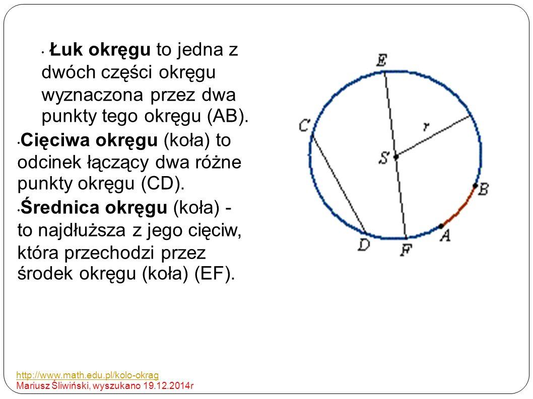 Łuk okręgu to jedna z dwóch części okręgu wyznaczona przez dwa punkty tego okręgu (AB). Cięciwa okręgu (koła) to odcinek łączący dwa różne punkty okrę