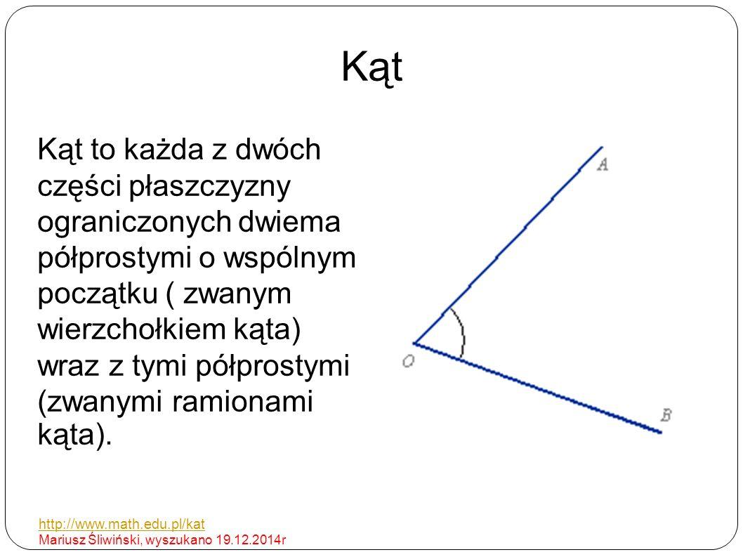 Kąt Kąt to każda z dwóch części płaszczyzny ograniczonych dwiema półprostymi o wspólnym początku ( zwanym wierzchołkiem kąta) wraz z tymi półprostymi (zwanymi ramionami kąta).
