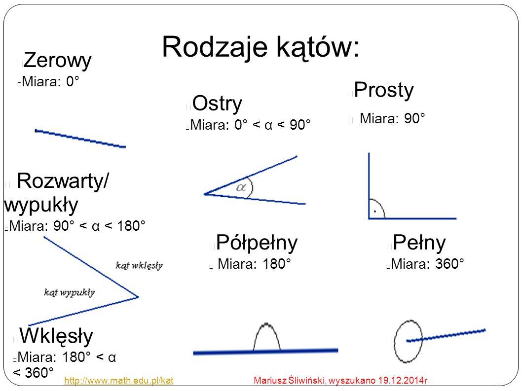 Rodzaje kątów: Zerowy Miara: 0° Ostry Miara: 0° < α < 90° Prosty Miara: 90° Rozwarty/ wypukły Miara: 90° < α < 180° Pełny Miara: 360° Półpełny Miara: