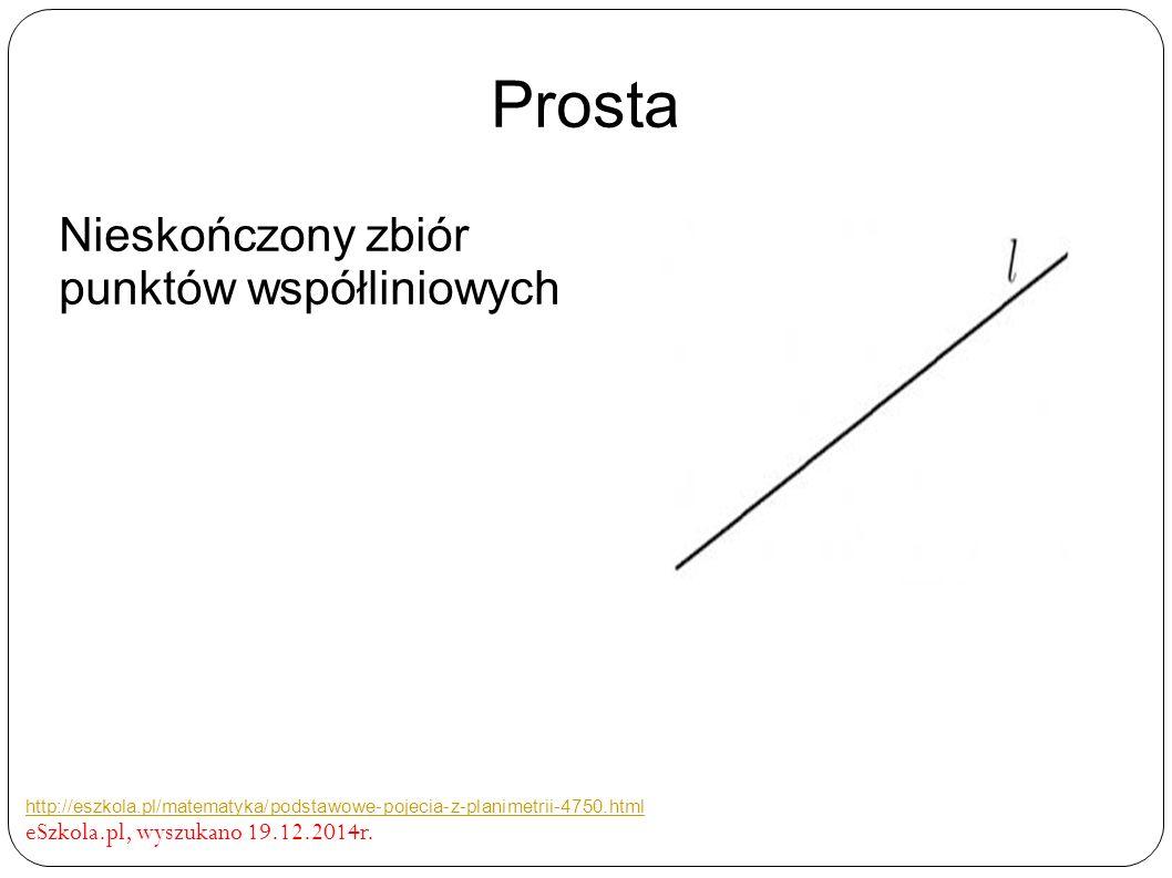 Prosta Nieskończony zbiór punktów współliniowych http://eszkola.pl/matematyka/podstawowe-pojecia-z-planimetrii-4750.html eSzkola.pl, wyszukano 19.12.2014r.
