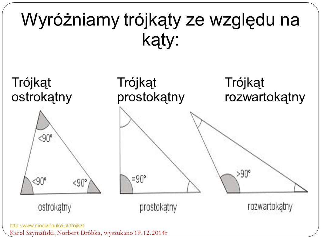 Wyróżniamy trójkąty ze względu na kąty: Trójkąt ostrokątny Trójkąt prostokątny Trójkąt rozwartokątny http://www.medianauka.pl/trojkat Karol Szyma ń ski, Norbert Dróbka, wyszukano 19.12.2014r