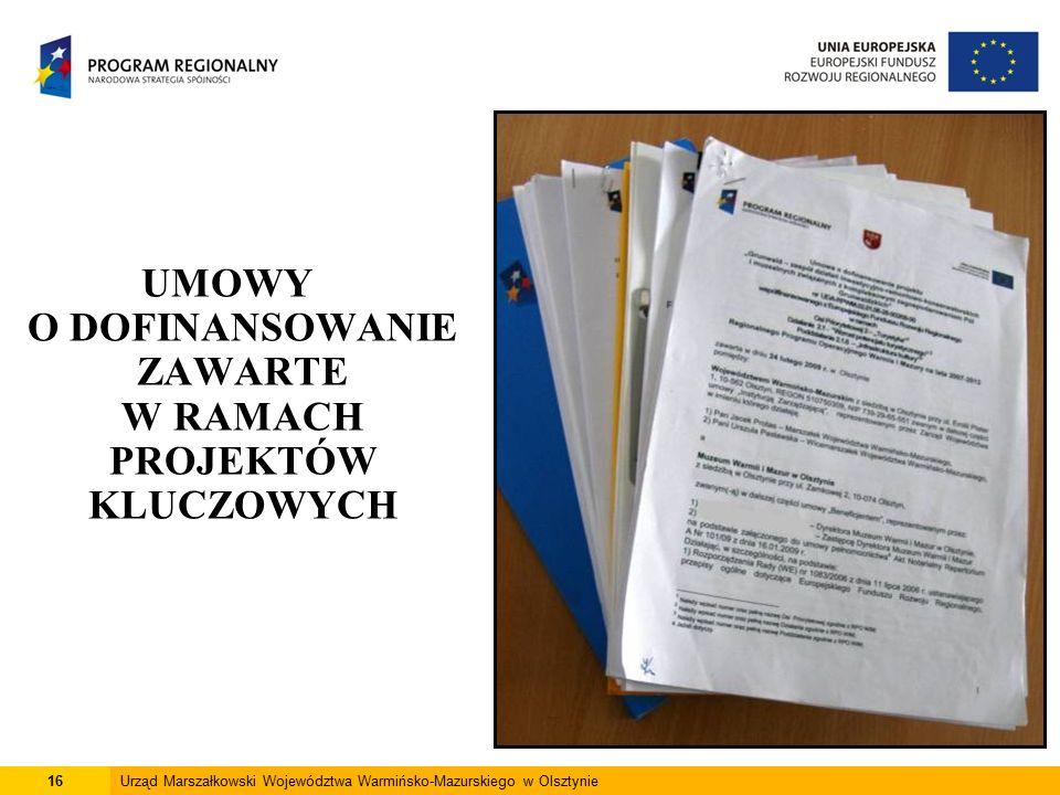 16Urząd Marszałkowski Województwa Warmińsko-Mazurskiego w Olsztynie UMOWY O DOFINANSOWANIE ZAWARTE W RAMACH PROJEKTÓW KLUCZOWYCH