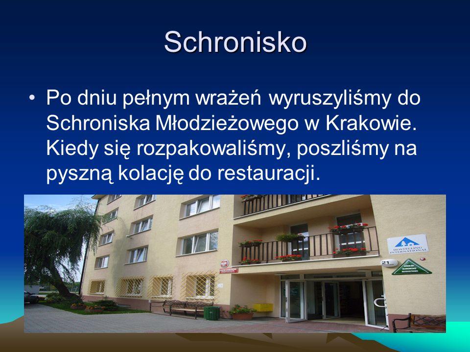 Schronisko Po dniu pełnym wrażeń wyruszyliśmy do Schroniska Młodzieżowego w Krakowie.