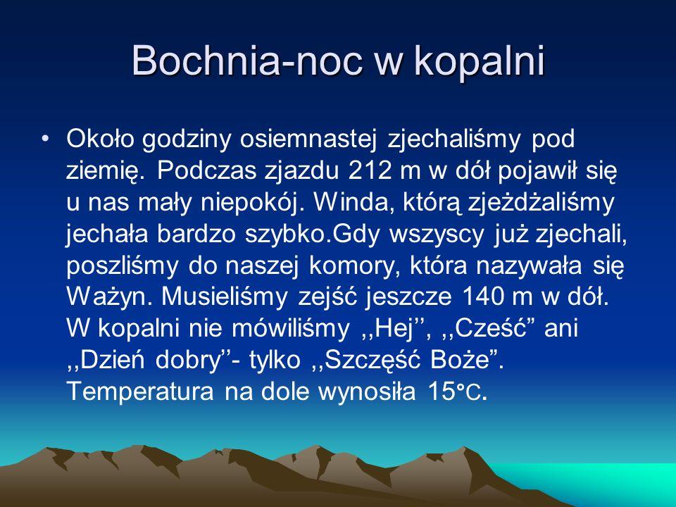 Bochnia-noc w kopalni Około godziny osiemnastej zjechaliśmy pod ziemię.