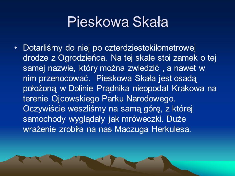 Pieskowa Skała Dotarliśmy do niej po czterdziestokilometrowej drodze z Ogrodzieńca.