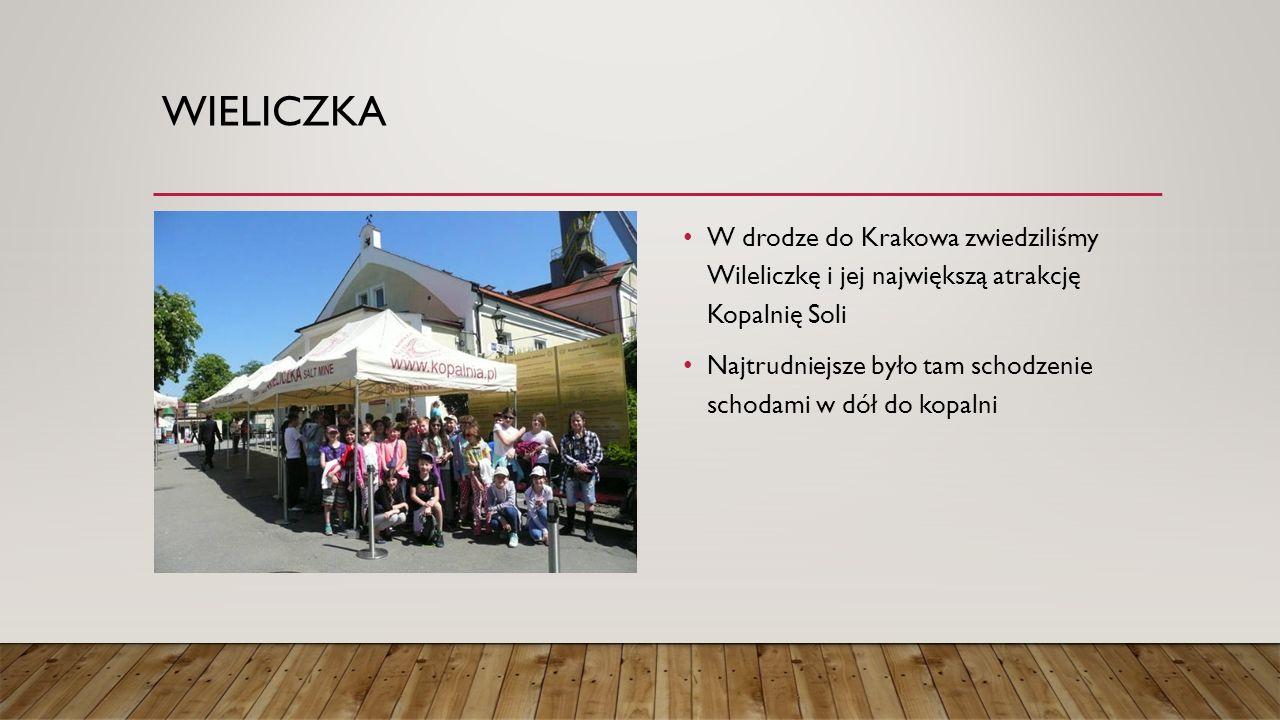 WIELICZKA W drodze do Krakowa zwiedziliśmy Wileliczkę i jej największą atrakcję Kopalnię Soli Najtrudniejsze było tam schodzenie schodami w dół do kop