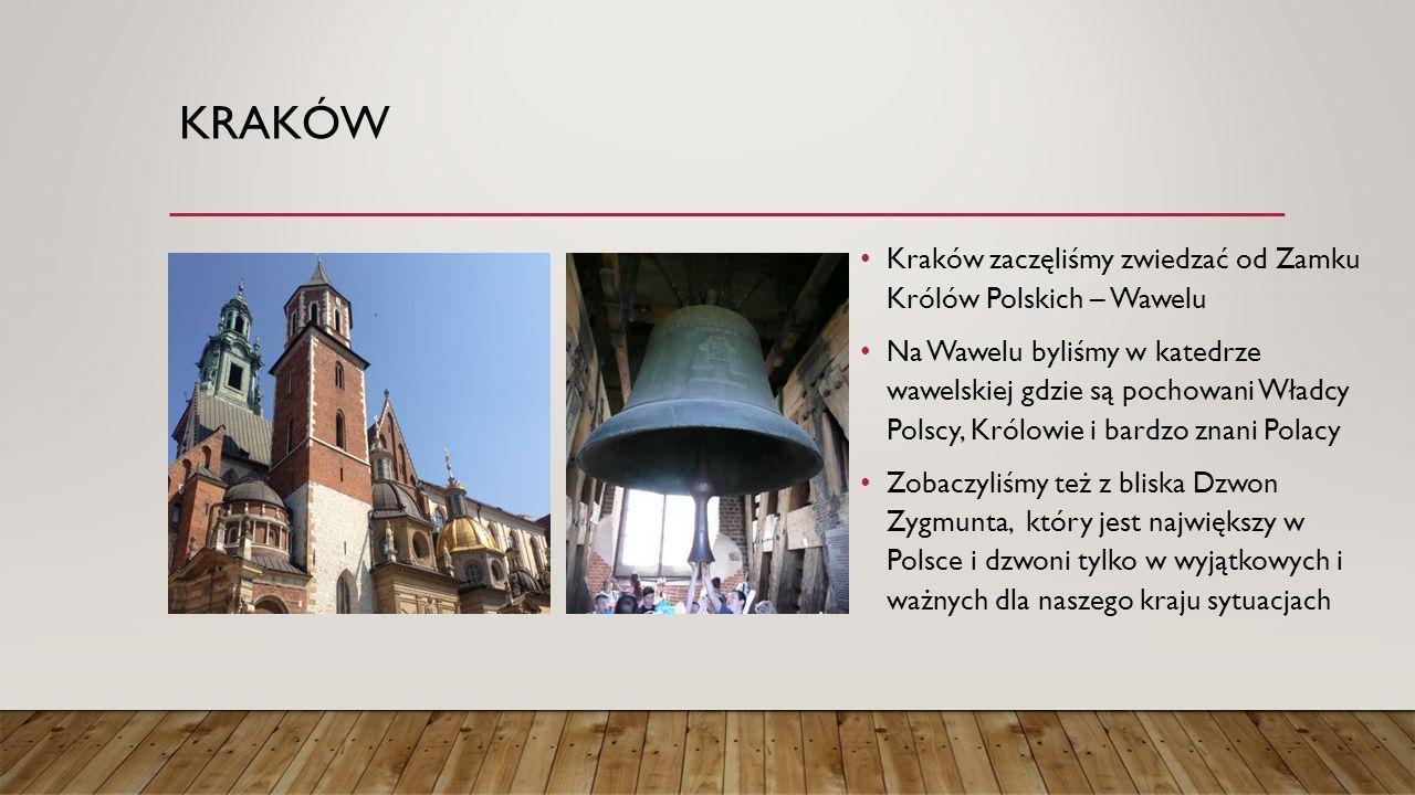 KRAKÓW Kraków zaczęliśmy zwiedzać od Zamku Królów Polskich – Wawelu Na Wawelu byliśmy w katedrze wawelskiej gdzie są pochowani Władcy Polscy, Królowie i bardzo znani Polacy Zobaczyliśmy też z bliska Dzwon Zygmunta, który jest największy w Polsce i dzwoni tylko w wyjątkowych i ważnych dla naszego kraju sytuacjach