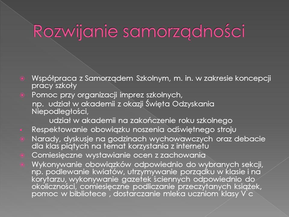  Współpraca z Samorządem Szkolnym, m. in.