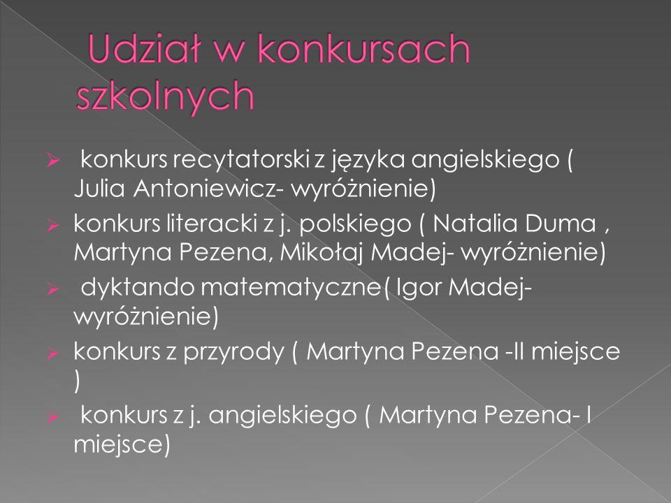  konkurs recytatorski z języka angielskiego ( Julia Antoniewicz- wyróżnienie)  konkurs literacki z j.