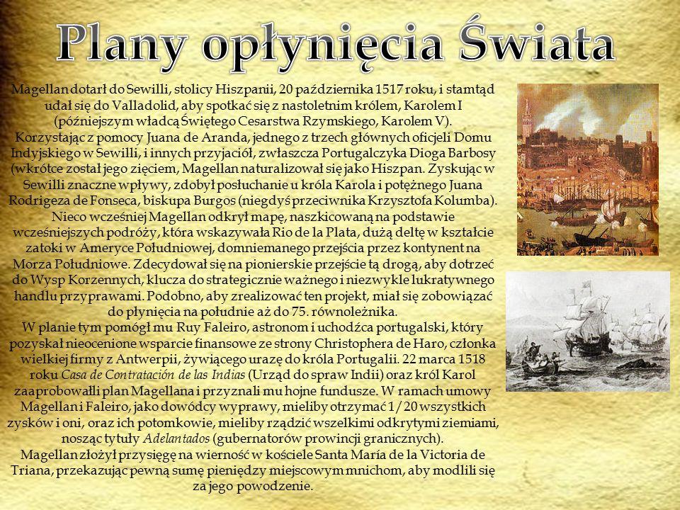 Magellan dotarł do Sewilli, stolicy Hiszpanii, 20 października 1517 roku, i stamtąd udał się do Valladolid, aby spotkać się z nastoletnim królem, Karolem I (późniejszym władcą Świętego Cesarstwa Rzymskiego, Karolem V).
