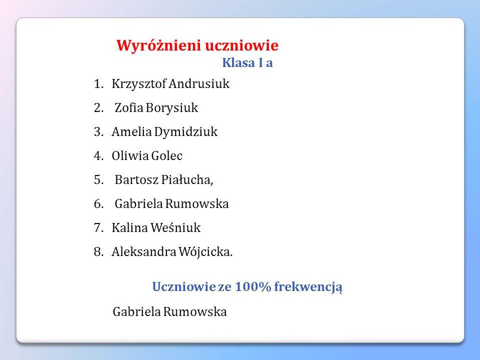 Klasa I b 1.Kornel Chudynko, 2.Szymon Wyrzykowski, 3.Bartosz Horbowiec, 4.