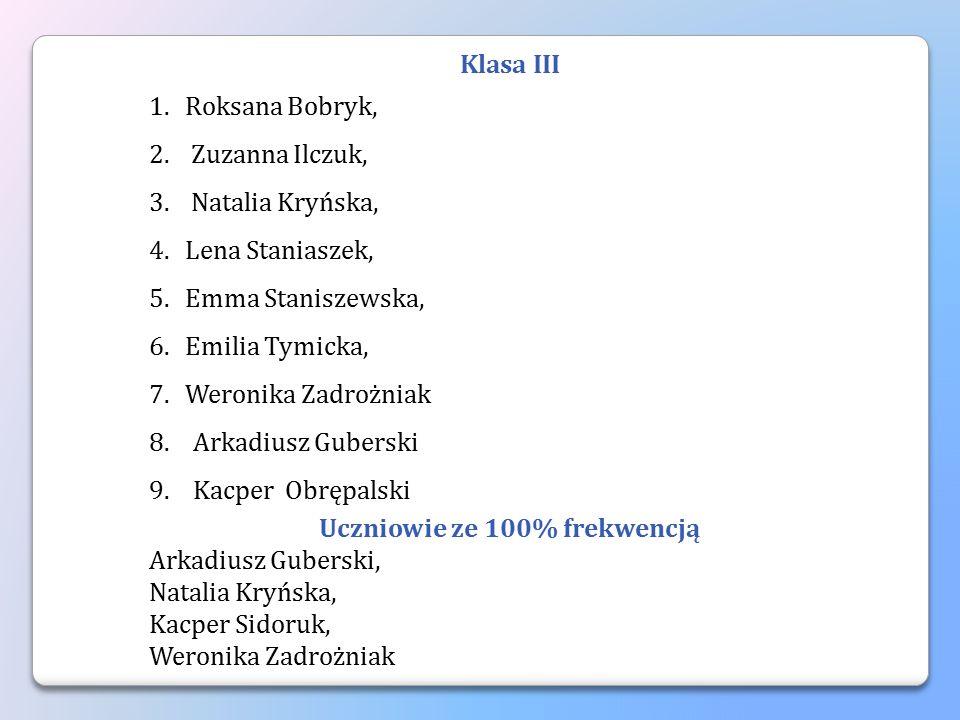 Klasa III 1.Roksana Bobryk, 2. Zuzanna Ilczuk, 3. Natalia Kryńska, 4.Lena Staniaszek, 5.Emma Staniszewska, 6.Emilia Tymicka, 7.Weronika Zadrożniak 8.