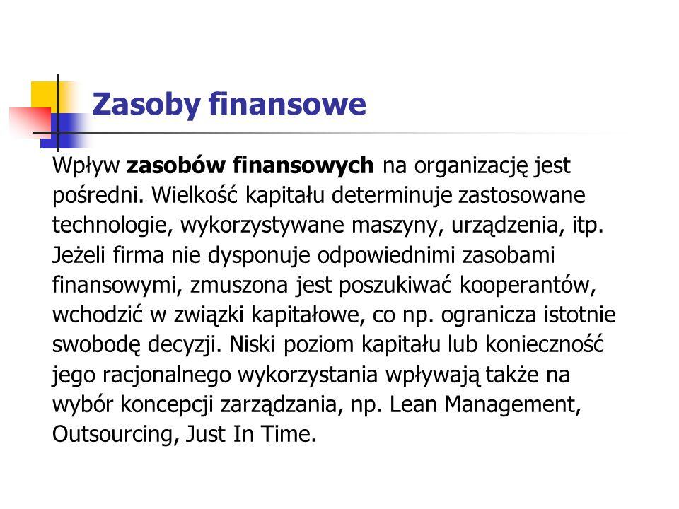 Zasoby finansowe Wpływ zasobów finansowych na organizację jest pośredni.