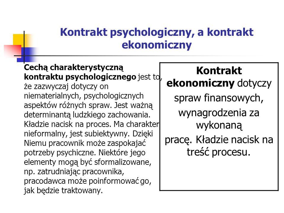 Kontrakt psychologiczny, a kontrakt ekonomiczny Cechą charakterystyczną kontraktu psychologicznego jest to, że zazwyczaj dotyczy on niematerialnych, psychologicznych aspektów różnych spraw.