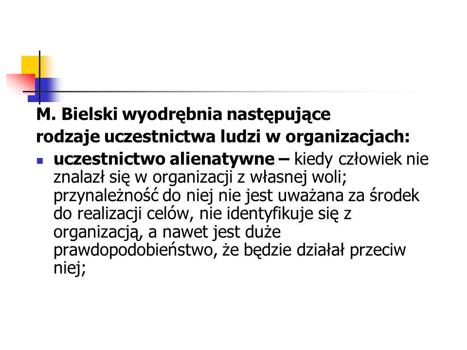 M. Bielski wyodrębnia następujące rodzaje uczestnictwa ludzi w organizacjach: uczestnictwo alienatywne – kiedy człowiek nie znalazł się w organizacji