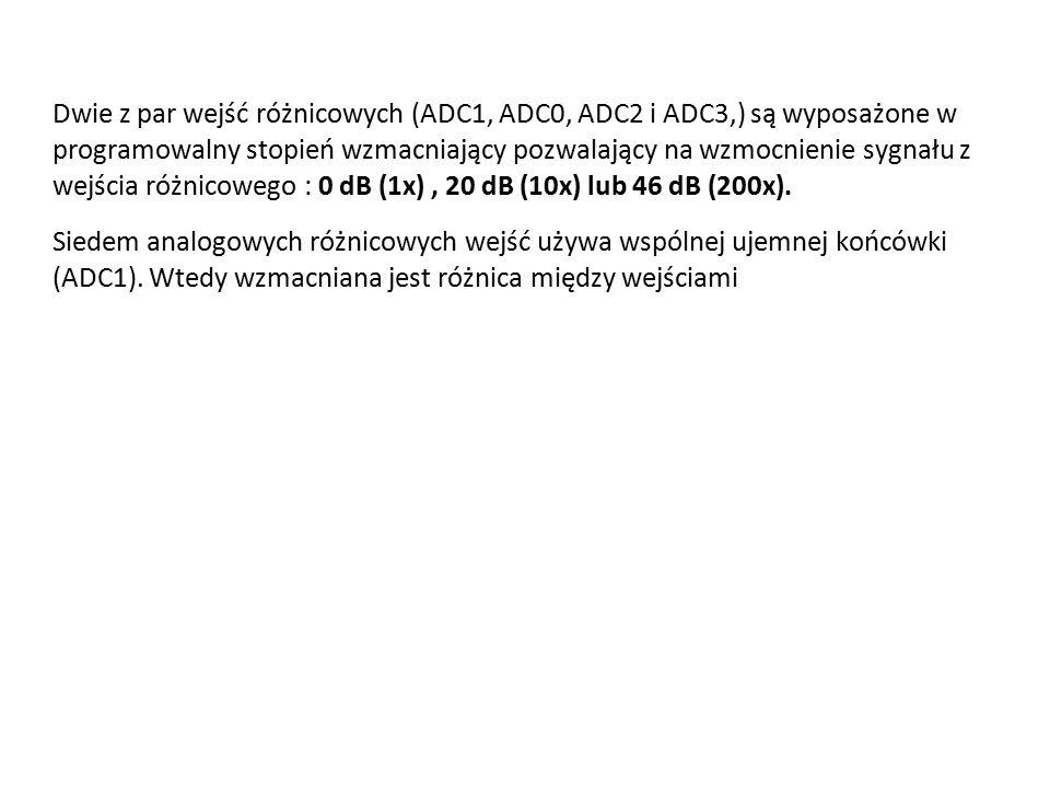 Dwie z par wejść różnicowych (ADC1, ADC0, ADC2 i ADC3,) są wyposażone w programowalny stopień wzmacniający pozwalający na wzmocnienie sygnału z wejścia różnicowego : 0 dB (1x), 20 dB (10x) lub 46 dB (200x).