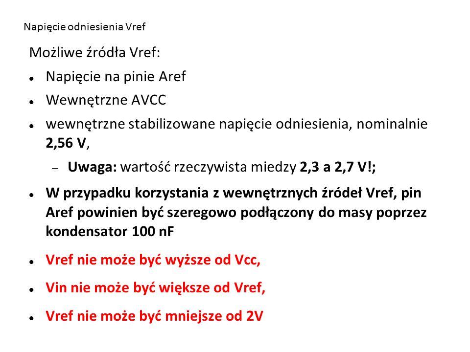 Napięcie odniesienia Vref Możliwe źródła Vref: Napięcie na pinie Aref Wewnętrzne AVCC wewnętrzne stabilizowane napięcie odniesienia, nominalnie 2,56 V,  Uwaga: wartość rzeczywista miedzy 2,3 a 2,7 V!; W przypadku korzystania z wewnętrznych źródeł Vref, pin Aref powinien być szeregowo podłączony do masy poprzez kondensator 100 nF Vref nie może być wyższe od Vcc, Vin nie może być większe od Vref, Vref nie może być mniejsze od 2V