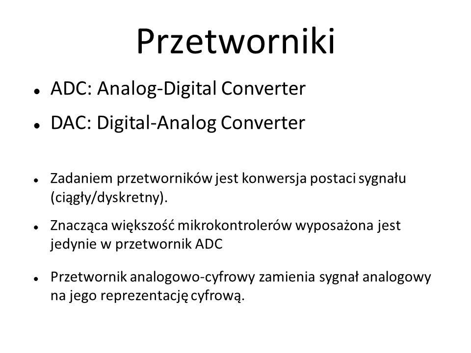 Przetworniki ADC: Analog-Digital Converter DAC: Digital-Analog Converter Zadaniem przetworników jest konwersja postaci sygnału (ciągły/dyskretny).