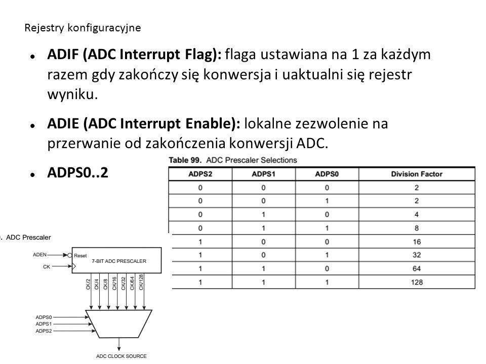 Rejestry konfiguracyjne ADIF (ADC Interrupt Flag): flaga ustawiana na 1 za każdym razem gdy zakończy się konwersja i uaktualni się rejestr wyniku.