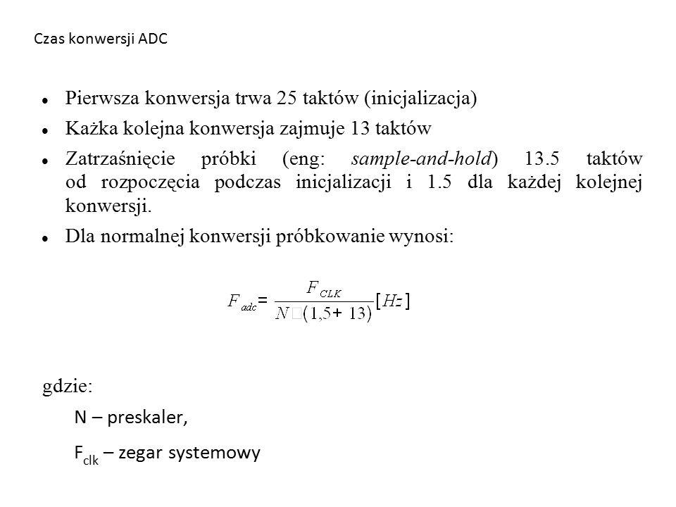 Czas konwersji ADC Pierwsza konwersja trwa 25 taktów (inicjalizacja) Każka kolejna konwersja zajmuje 13 taktów Zatrzaśnięcie próbki (eng: sample-and-hold) 13.5 taktów od rozpoczęcia podczas inicjalizacji i 1.5 dla każdej kolejnej konwersji.