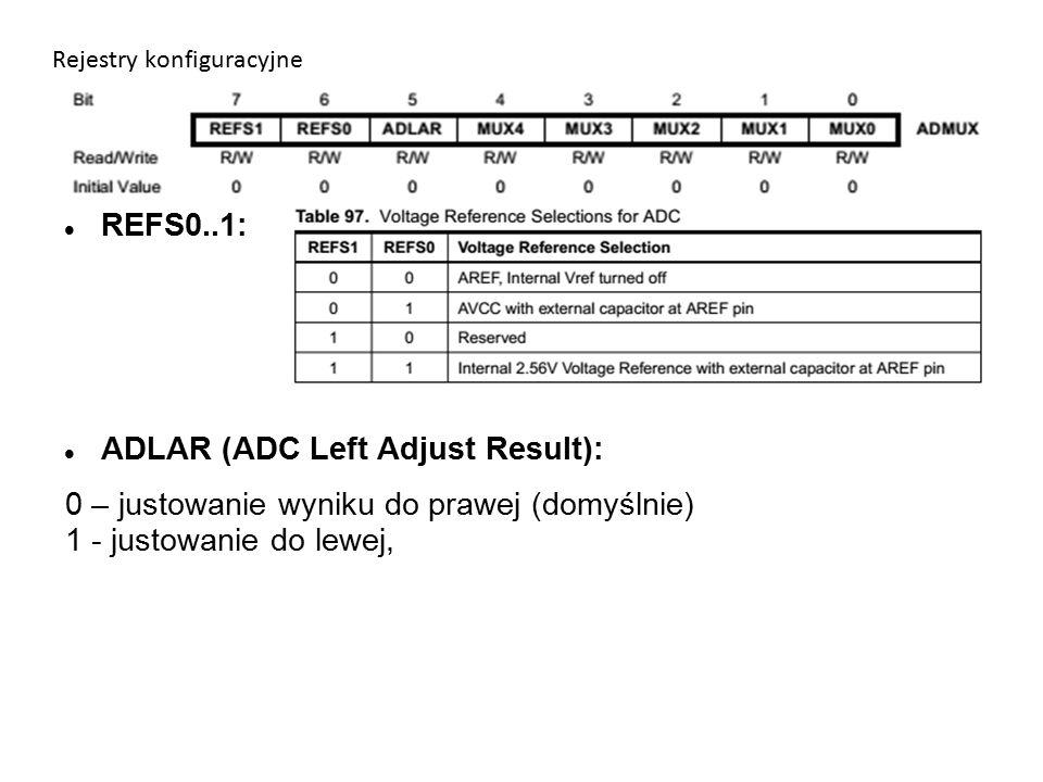 Rejestry konfiguracyjne REFS0..1: ADLAR (ADC Left Adjust Result): 0 – justowanie wyniku do prawej (domyślnie) 1 - justowanie do lewej,
