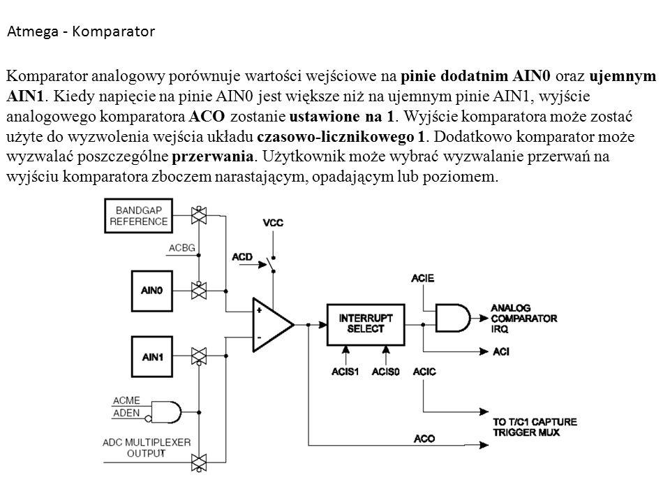 Atmega - Komparator Komparator analogowy porównuje wartości wejściowe na pinie dodatnim AIN0 oraz ujemnym AIN1.