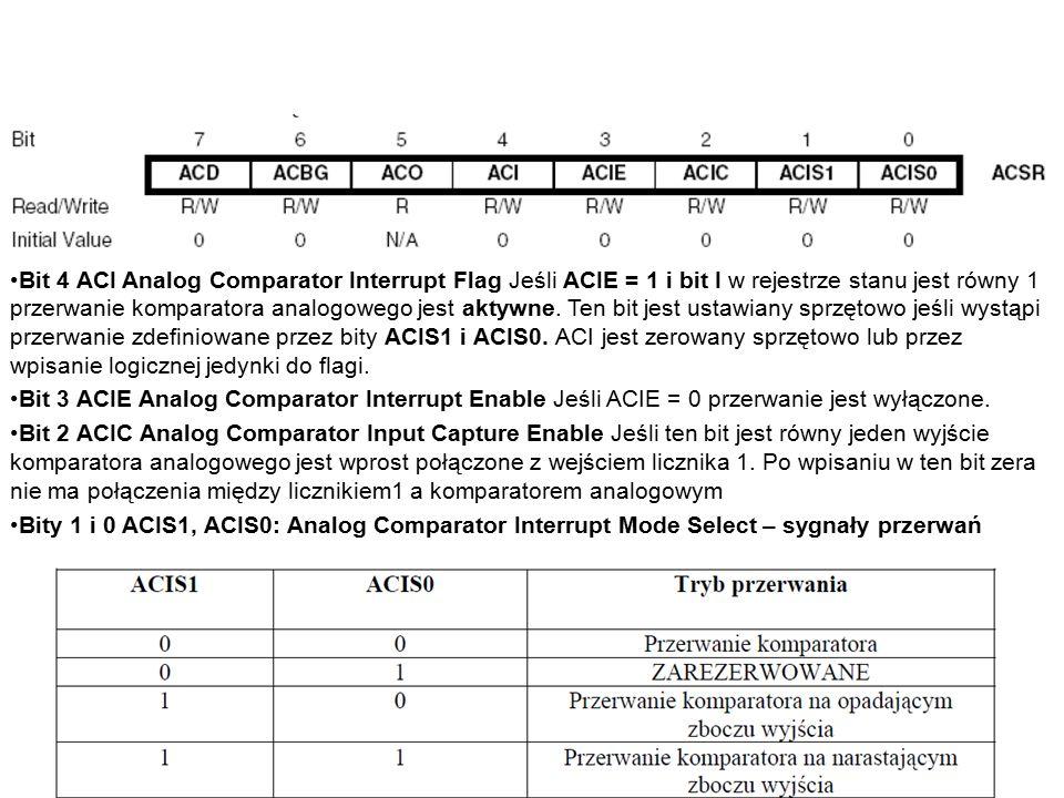 Bit 4 ACI Analog Comparator Interrupt Flag Jeśli ACIE = 1 i bit I w rejestrze stanu jest równy 1 przerwanie komparatora analogowego jest aktywne.