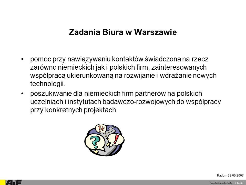 Nasze usługi Doradztwo odnośnie możliwości nawiązania i rozwijania współpracy w zakresie projektów międzynarodowych w Polsce Doradztwo w zakresie transferu technologii Organizowanie polsko-niemieckich giełd kooperacyjnych i wizyt przedsiębiorców niemieckich w Polsce Pomoc przy poszukiwaniu partnerów do współpracy badawczo- rozwojowej, zarówno przez Biuro Kooperacji Badawczej jak i poprzez publikowanie ofert w internecie oraz bazę kontaktów prowadzoną przez AiF My Partnerzy Geschäftsstelle Berlin II-Br/1101 Radom 28.05.2007