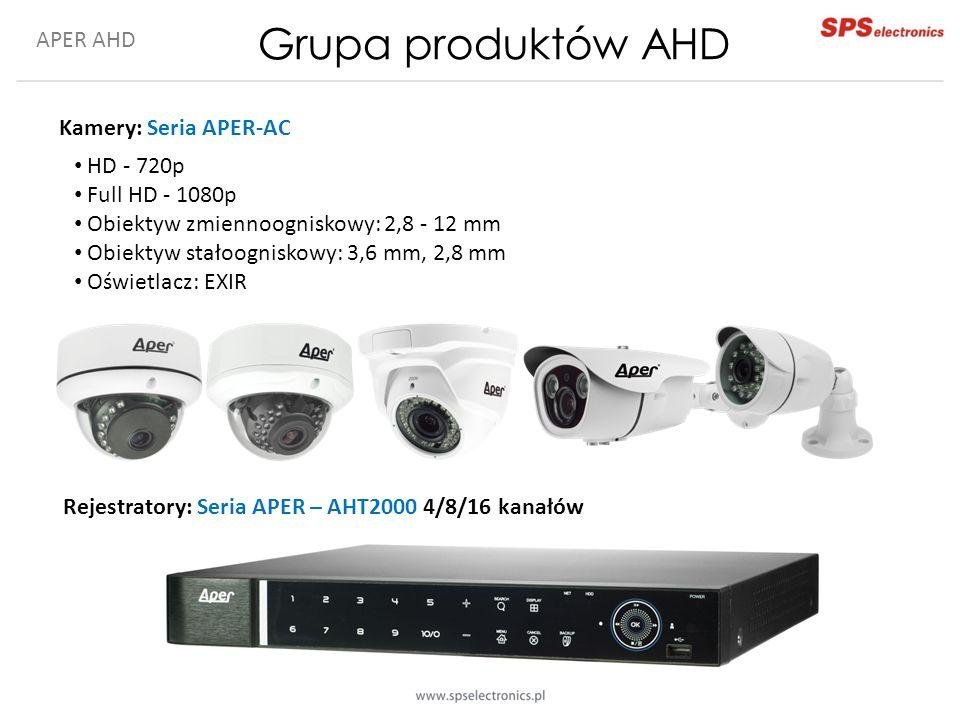 APER AHD Grupa produktów AHD Kamery: Seria APER-AC Rejestratory: Seria APER – AHT2000 4/8/16 kanałów HD - 720p Full HD - 1080p Obiektyw zmiennoogniskowy: 2,8 - 12 mm Obiektyw stałoogniskowy: 3,6 mm, 2,8 mm Oświetlacz: EXIR