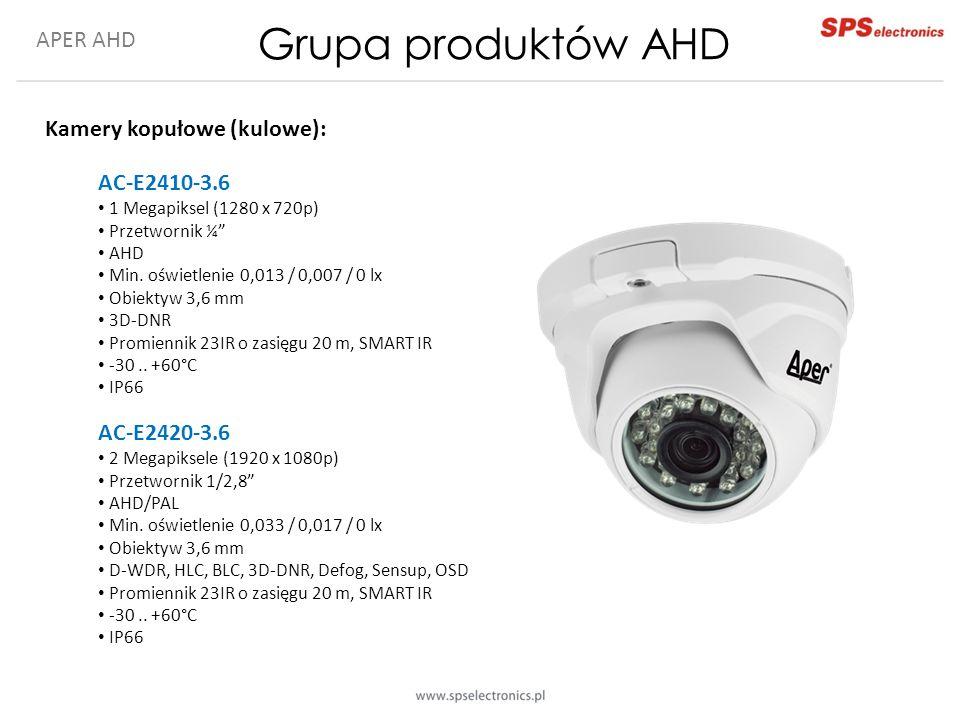 APER AHD Grupa produktów AHD Kamery kopułowe (kulowe): AC-E2410-3.6 1 Megapiksel (1280 x 720p) Przetwornik ¼ AHD Min.