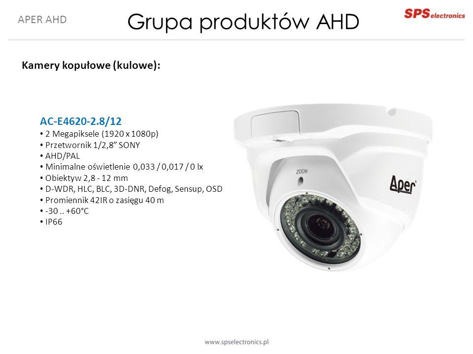 APER AHD Grupa produktów AHD Kamery kopułowe (kulowe): AC-E4620-2.8/12 2 Megapiksele (1920 x 1080p) Przetwornik 1/2,8 SONY AHD/PAL Minimalne oświetlenie 0,033 / 0,017 / 0 lx Obiektyw 2,8 - 12 mm D-WDR, HLC, BLC, 3D-DNR, Defog, Sensup, OSD Promiennik 42IR o zasięgu 40 m -30..