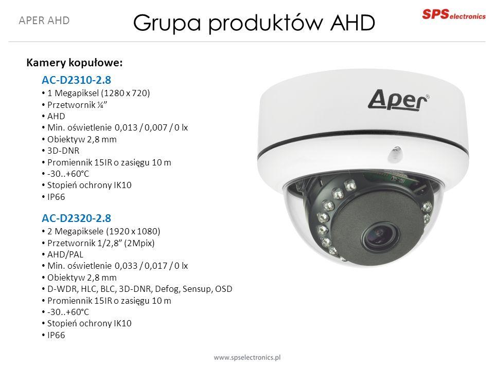APER AHD Grupa produktów AHD Kamery kopułowe: AC-D2310-2.8 1 Megapiksel (1280 x 720) Przetwornik ¼ AHD Min.
