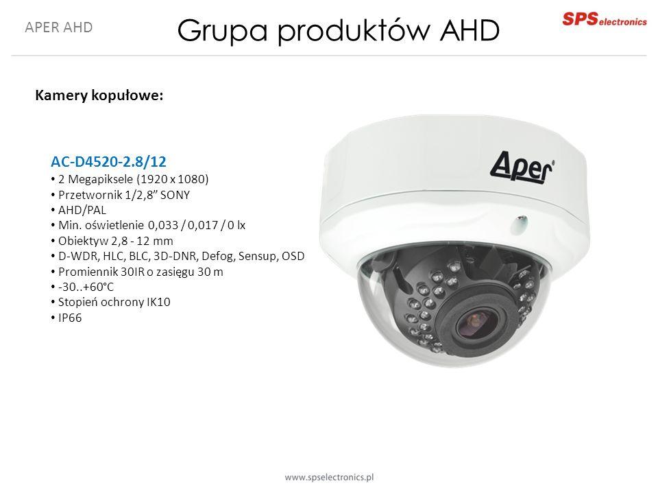 APER AHD Grupa produktów AHD Kamery kopułowe: AC-D4520-2.8/12 2 Megapiksele (1920 x 1080) Przetwornik 1/2,8 SONY AHD/PAL Min.
