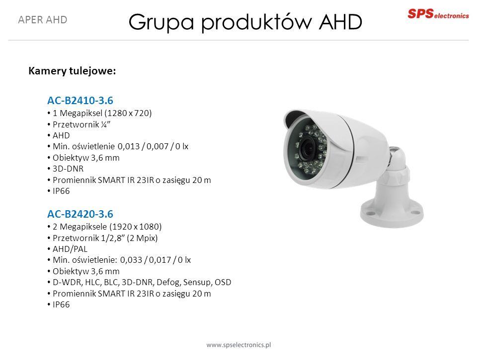 APER AHD Grupa produktów AHD Kamery tulejowe: AC-B2410-3.6 1 Megapiksel (1280 x 720) Przetwornik ¼ AHD Min.